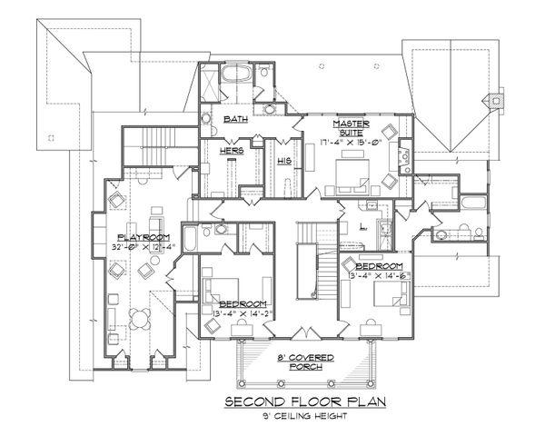 Colonial Floor Plan - Upper Floor Plan Plan #1054-78