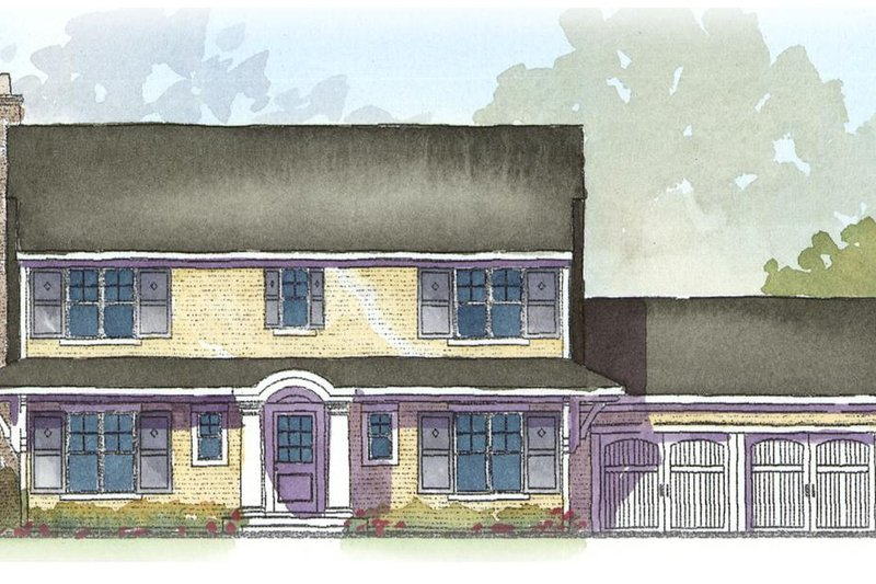 Colonial Style House Plan - 3 Beds 2.5 Baths 2294 Sq/Ft Plan #901-27 Exterior - Front Elevation