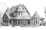 Victorian Style House Plan - 3 Beds 2.5 Baths 2071 Sq/Ft Plan #410-109 Exterior - Rear Elevation