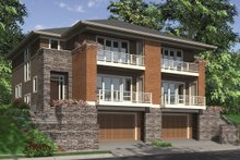 House Plan Design - Front View - 2800 square foot Modern Duplex