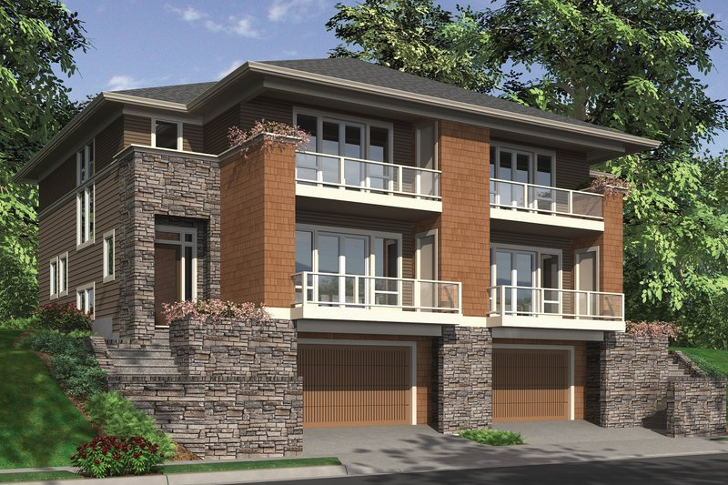 Front View - 2800 square foot Modern Duplex