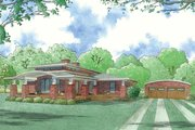 Modern Style House Plan - 4 Beds 2 Baths 2005 Sq/Ft Plan #923-83 Exterior - Front Elevation