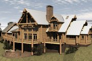 Log Style House Plan - 4 Beds 4.5 Baths 7819 Sq/Ft Plan #451-3 Exterior - Front Elevation