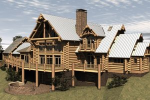 Log Exterior - Front Elevation Plan #451-3