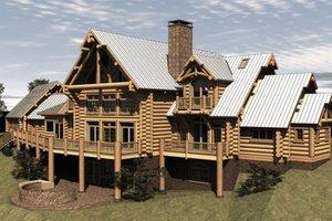 Log Exterior - Front Elevation Plan #451-3