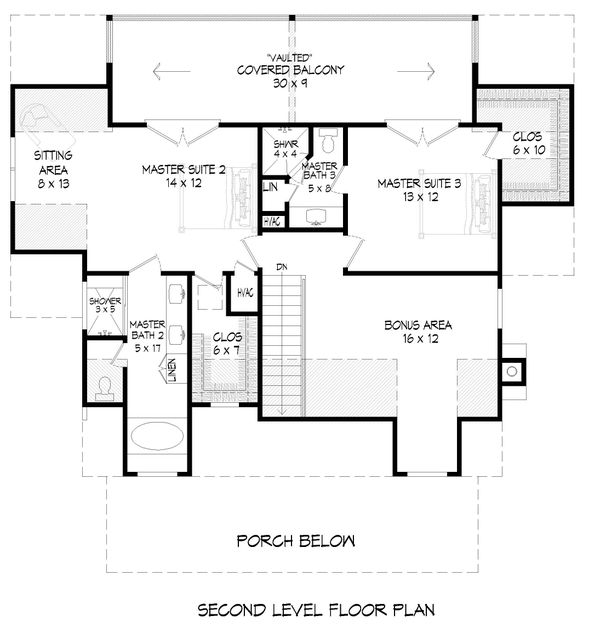 Cabin Floor Plan - Upper Floor Plan #932-252