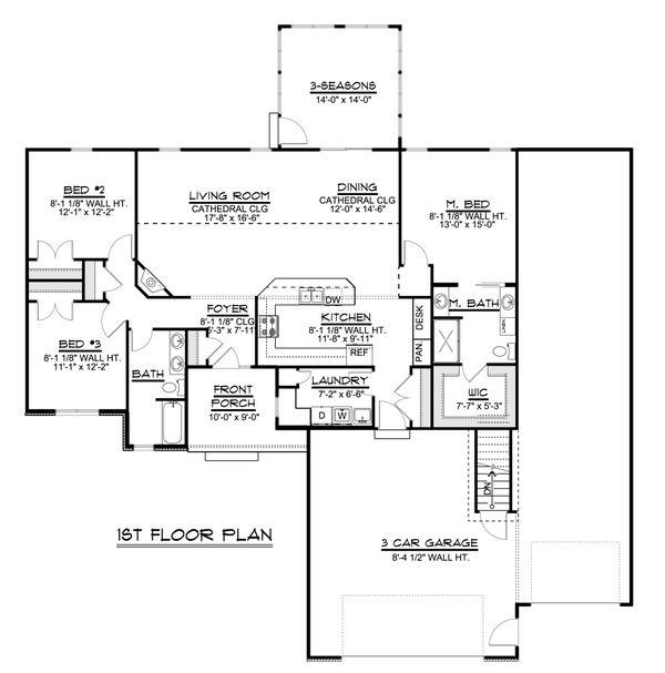Craftsman Floor Plan - Main Floor Plan #1064-79