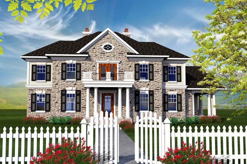 Colonial Style House Plan - 4 Beds 3.5 Baths 3622 Sq/Ft Plan #70-1144 Exterior - Front Elevation