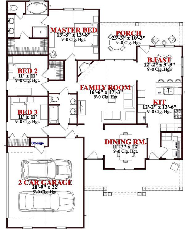 Traditional Floor Plan - Main Floor Plan Plan #63-367