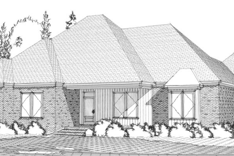 European Style House Plan - 4 Beds 3.5 Baths 2901 Sq/Ft Plan #63-320 Exterior - Front Elevation