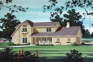 Country Exterior - Front Elevation Plan #45-352