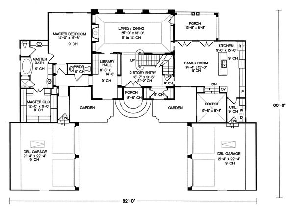 European Floor Plan - Main Floor Plan Plan #20-1117