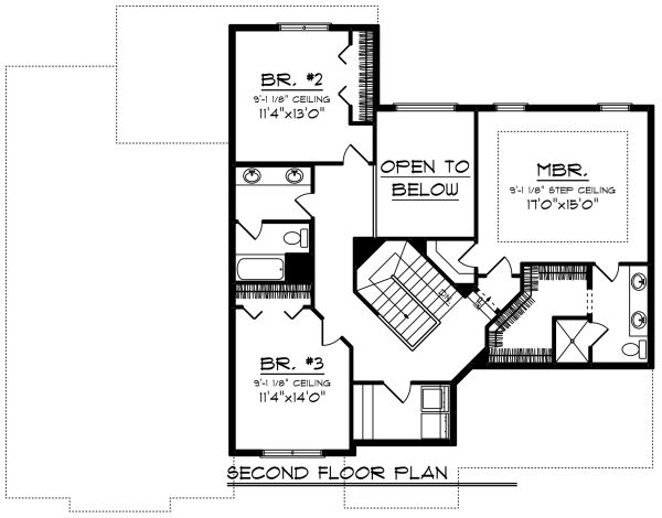 Craftsman Floor Plan - Upper Floor Plan Plan #70-1279
