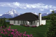 Traditional Style House Plan - 2 Beds 2 Baths 1849 Sq/Ft Plan #70-1080 Exterior - Rear Elevation