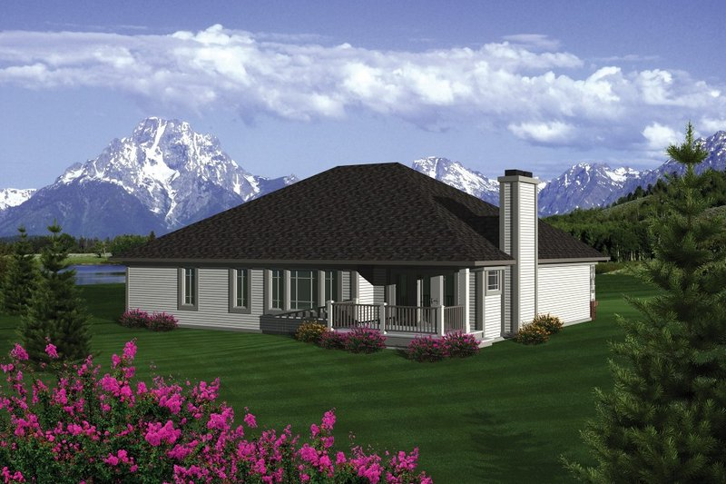 Traditional Exterior - Rear Elevation Plan #70-1080 - Houseplans.com