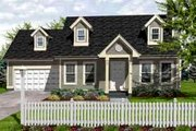 Colonial Style House Plan - 3 Beds 2 Baths 1260 Sq/Ft Plan #50-262 Exterior - Front Elevation