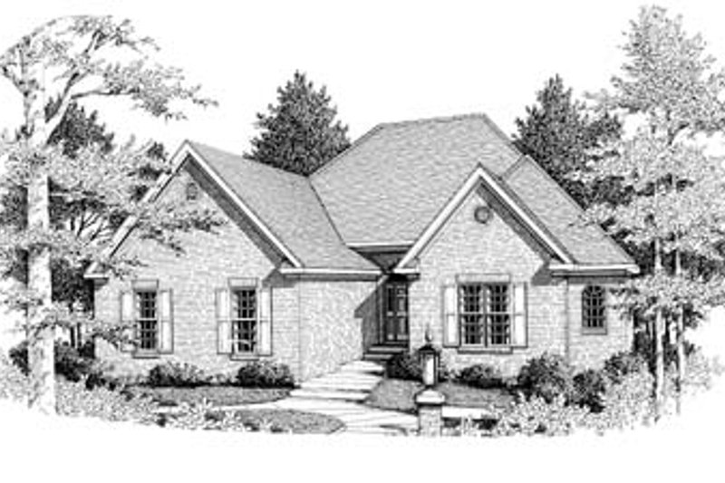 European Style House Plan - 3 Beds 2 Baths 1824 Sq/Ft Plan #10-115 Exterior - Front Elevation