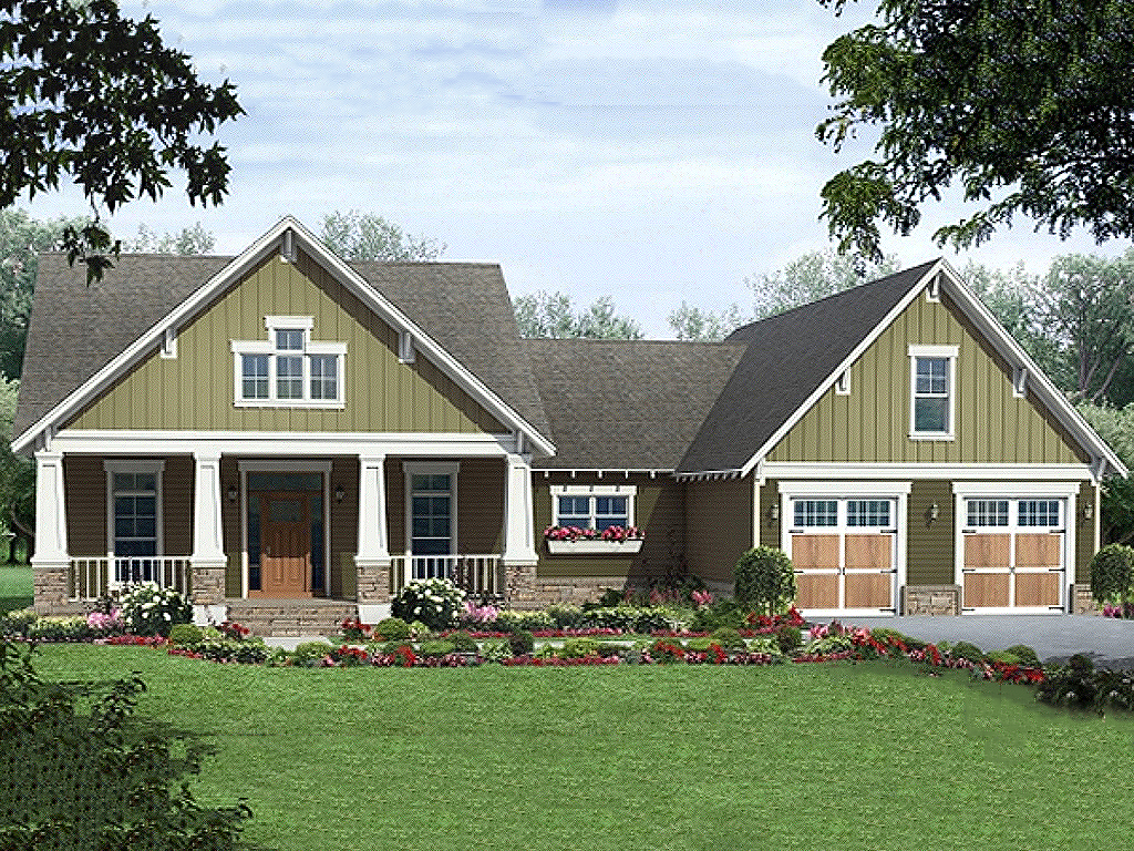 Craftsman style house plan 3 beds 2 baths 1800 sq ft for Craftsman vs mission style