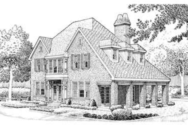 European Exterior - Front Elevation Plan #410-391 - Houseplans.com