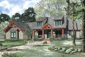 Craftsman Exterior - Front Elevation Plan #17-2373