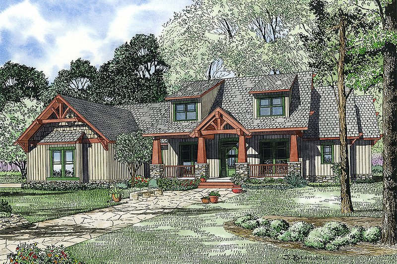 Craftsman Style House Plan - 4 Beds 3 Baths 2373 Sq/Ft Plan #17-2373 Exterior - Front Elevation