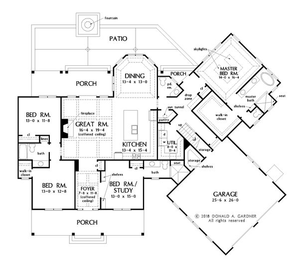 Farmhouse Floor Plan - Main Floor Plan Plan #929-1054
