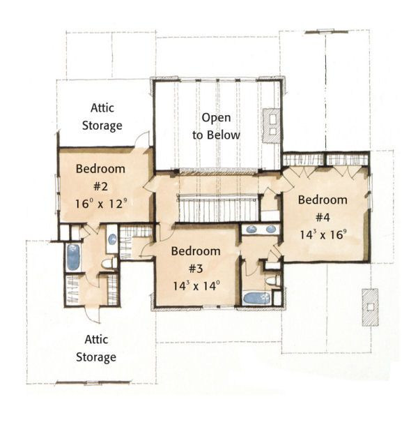 Farmhouse Style House Plan - 4 Beds 3.5 Baths 3398 Sq/Ft Plan #429-35 Floor Plan - Upper Floor Plan