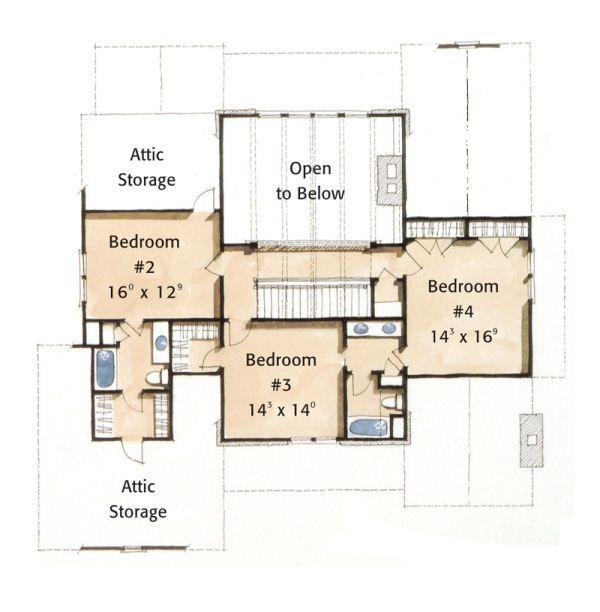 Farmhouse Floor Plan - Upper Floor Plan Plan #429-35