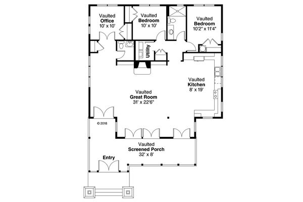 Craftsman Floor Plan - Main Floor Plan Plan #124-1151