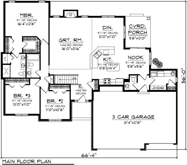 Traditional Floor Plan - Main Floor Plan Plan #70-1082