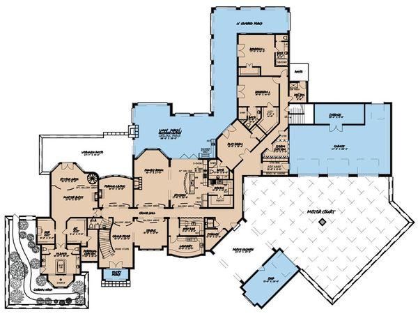 Mediterranean Floor Plan - Main Floor Plan Plan #923-41