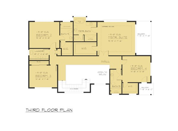 Modern Floor Plan - Upper Floor Plan #1066-84