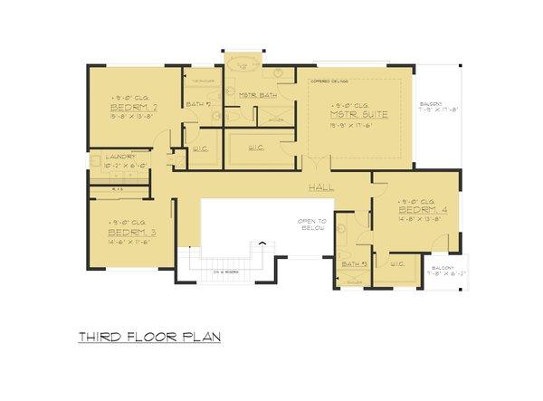 Modern Floor Plan - Upper Floor Plan Plan #1066-84