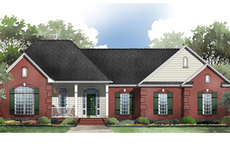 Traditional Style House Plan - 3 Beds 2.5 Baths 2005 Sq/Ft Plan #21-180 Exterior - Front Elevation