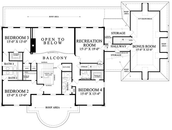 Traditional Floor Plan - Upper Floor Plan Plan #137-292