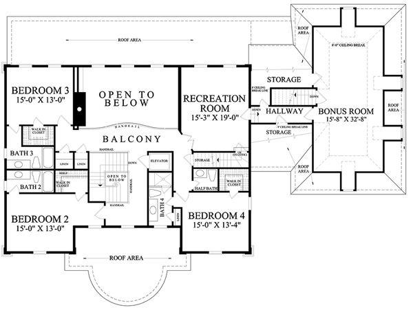 Dream House Plan - Traditional Floor Plan - Upper Floor Plan #137-292