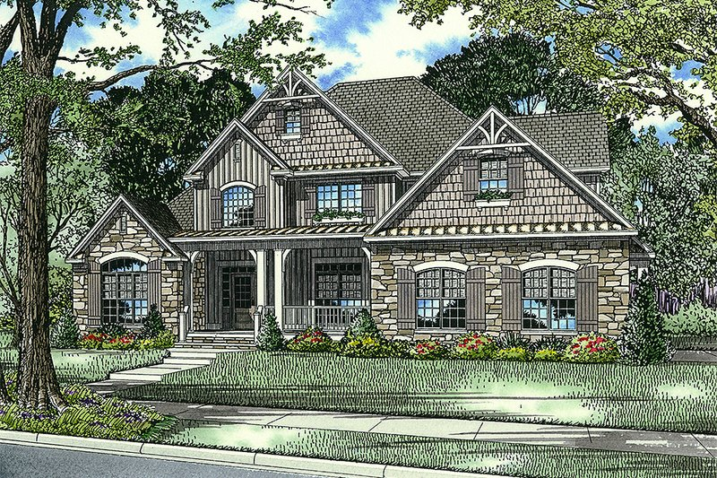 Craftsman Style House Plan - 4 Beds 3 Baths 2481 Sq/Ft Plan #17-2531 Exterior - Front Elevation