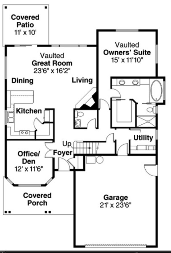 Craftsman Floor Plan - Main Floor Plan Plan #124-820
