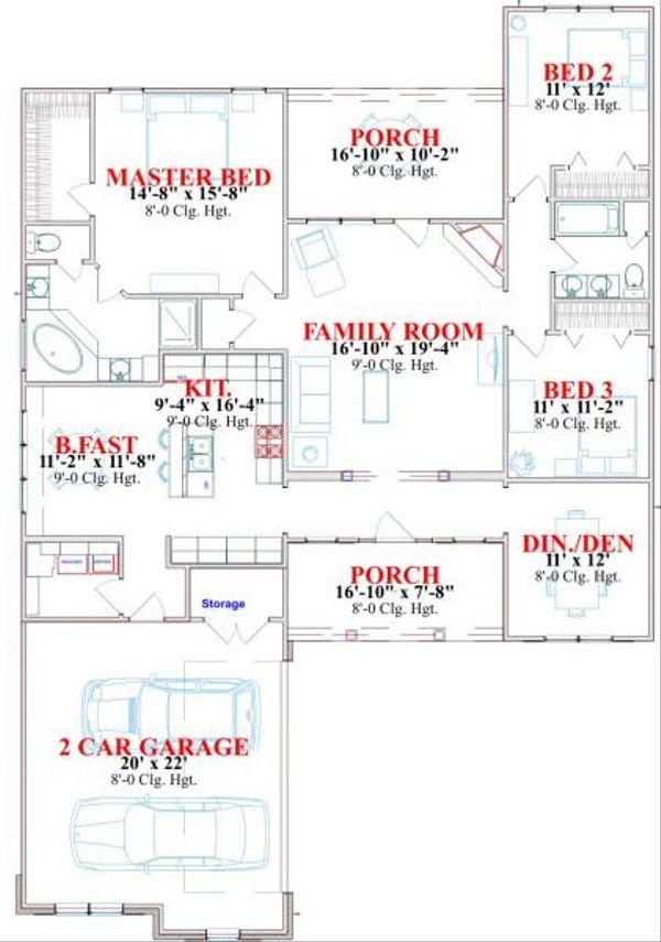 Traditional Floor Plan - Main Floor Plan Plan #63-161