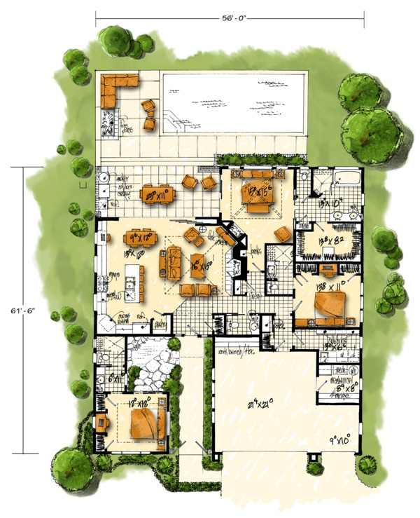 Contemporary Floor Plan - Main Floor Plan Plan #942-49