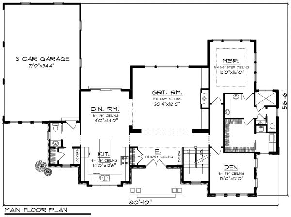 Traditional Floor Plan - Main Floor Plan Plan #70-1184