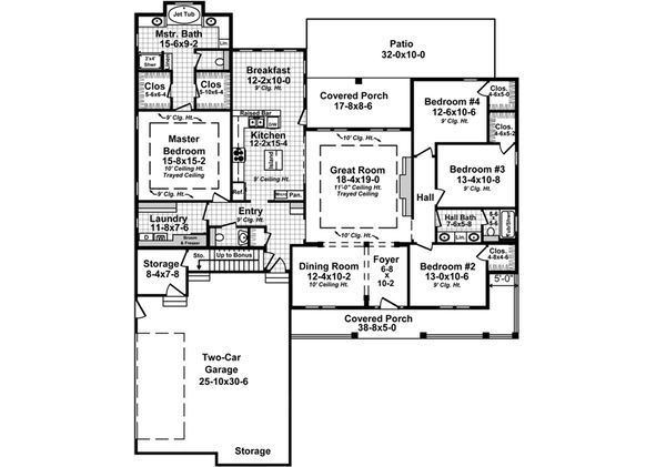 Country Floor Plan - Main Floor Plan Plan #21-378