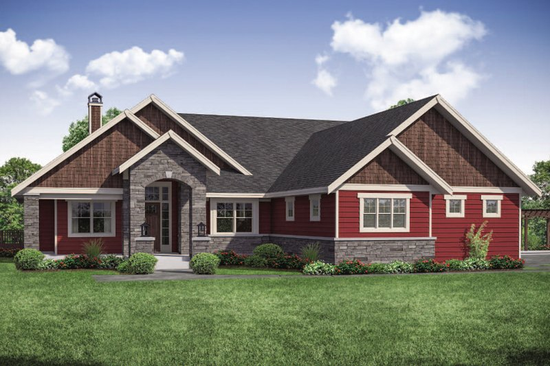 Architectural House Design - Ranch Exterior - Front Elevation Plan #124-1106