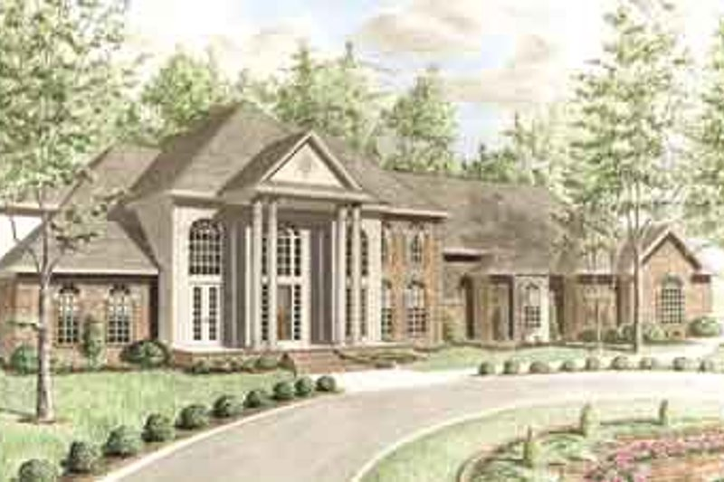 Southern Exterior - Front Elevation Plan #34-201