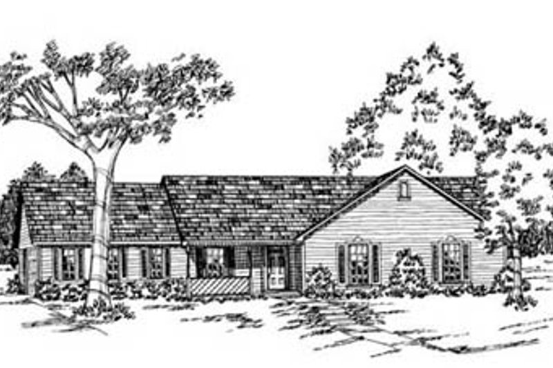 Ranch Style House Plan - 3 Beds 2 Baths 1750 Sq/Ft Plan #36-147 Exterior - Front Elevation