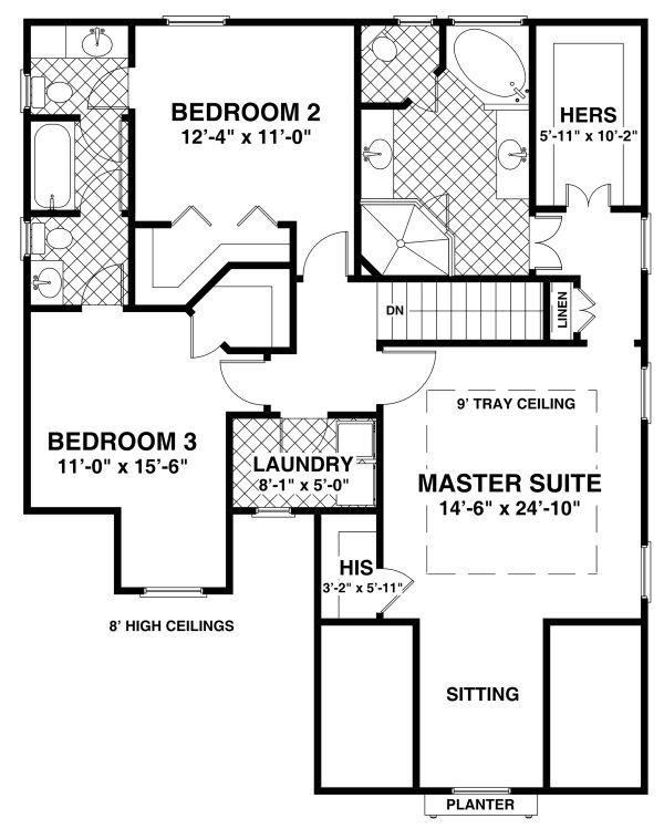 House Plan Design - Craftsman Floor Plan - Upper Floor Plan #56-722