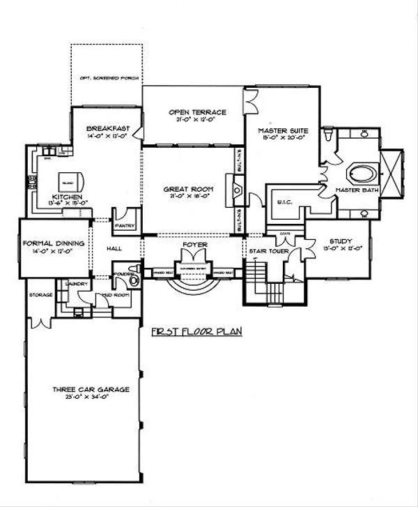 European Floor Plan - Main Floor Plan Plan #413-144