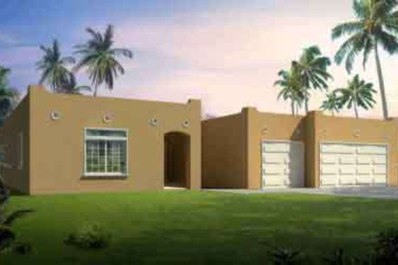 Adobe / Southwestern Style House Plan - 3 Beds 2 Baths 2274 Sq/Ft Plan #1-1450 Exterior - Front Elevation