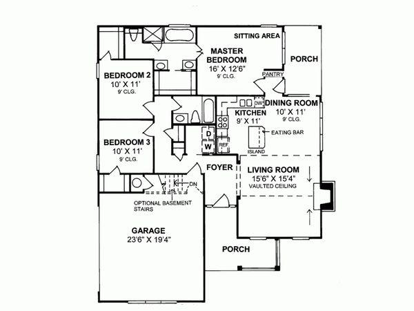 Farmhouse Floor Plan - Main Floor Plan Plan #20-335