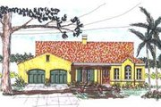 Mediterranean Style House Plan - 3 Beds 2.5 Baths 2050 Sq/Ft Plan #76-118 Exterior - Front Elevation